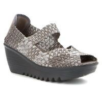 Bernie Mev Womens Halle Wedge Silver Gray Size 37