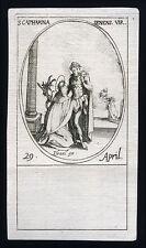 santino incisione 1600 S.CATERINA DA SIENA.  j.callot