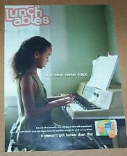 2011 print ad page - Oscar Mayer Lunchables pizza CUTE little girl playing piano