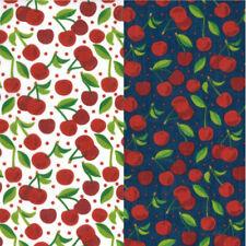 Polycotton Fabric Juicy Cherry Fruit Polka Dots Dotty Spots Food Cherries Summer