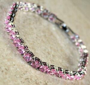 "Silver Elegant Pink Kunzite Round Bracelet Girls Woman Jewelry Gift 7.25"""
