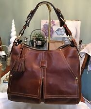 Dooney Bourke Florentine Leather Chestnut Kingston Hobo Satchel Bag Brown EUC