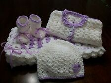 NEW Handmade Crochet Baby Blanket Afghan set ( purple white ) Newborn