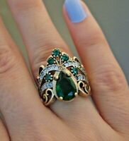 Turkish Emerald Ladies Ring 925 Sterling Silver Handmade Authentic Size 6-10
