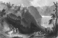 Germany, BURG RHEINFELS CASTLE SANKT GOAR RHINE RIVER ~ 1865 Art Print Engraving