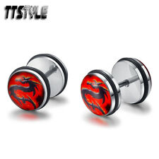 TTstyle 10mm Clear Epoxy Red Dragon Stainless Steel Ear Plug Earrings A Pair