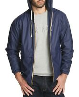Weatherproof Mens Jacket Navy Blue Size Medium M Hooded Windbreaker $79 044