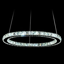 Modern 12W LED Crystal Pendant Oval Ring Lamp Ceiling Light Fitting Fixture 30CM