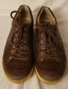 Ecco Mens Brown Leather Spikeless Golf Shoes Orange TPU Sole EUR 44 US 10/10.5