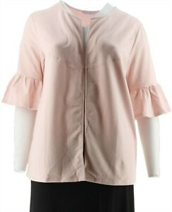 AnyBody Loungwear Cozy Knit French Terry Cardigan Delicate Pink S NEW A302490