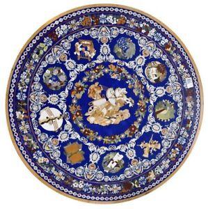 """42"""" marble Table Top multi stones lapis Inlay pietra dura handmade work"""