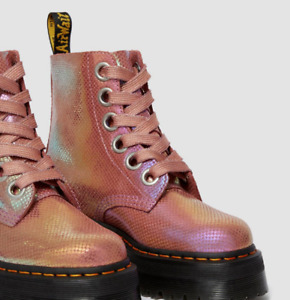 Dr Martens MOLLY Iridescent Pinks Snake Embossed Leather Boots  Sz US 11 EU 43