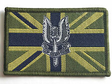 EMBROIDERED SAS WHO DARES WINS PATCH Green UK flag badge GB Army Military jacket