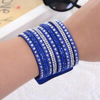 Punk Jewelry Rhinestone Wrap Multilayer Fashion Cuff Bangle Crystal Bracelet