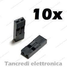 10x connettore dupont 2 pin vie poli contatto femmina maschio connectors header