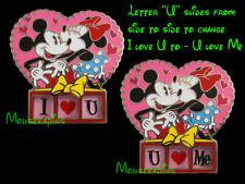 "Mickey & Minnie Mouse ""I Love U + U Love Me"" Disney Slider Pin"