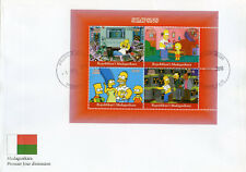 Madagascar 2018 FDC Simpsons Homer Bart Simpson 4v M/S II Cover Cartoons Stamps