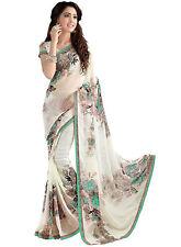 Floral Bollywood Saree Party Wear Indian Pakistani Ethnic Wedding Designer Sari