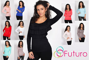Womens Lovely & Sensible Top With Flounce Jumper Tunic Loose Fit One Size 8061