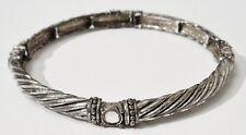 bracelet bijou vintage rétro semi rigide couleur argent effet brillant 2127