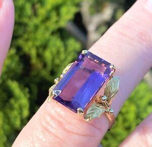 18ct Gold Amethyst Ring Large Emerald Cut Fancy Shoulder 18k Size O 1/2 HMK 4.5g