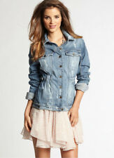 NWT GUESS Jeans $138 Safari Denim Blazer Jacket Destroyed Blue XS 1 2 3