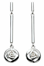 Solid Silver Rennie Mackintosh Glasgow Rose Bar Drop Earrings Jewellery Boxed