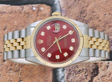 Gents Red Diamond Dial in acciaio & Giallo Oro Rolex OYSTER PERPETUAL DATEJUST