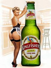 Kingfisher Pin Up Girl, Vintage Retro Metal Sign Plaque, Novelty Gift, Bar/Pub