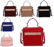 Leather Outer Handbags Clasp Satchels with Detachable Strap