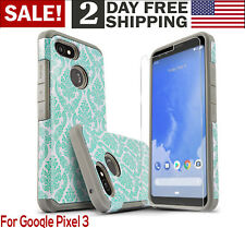 Google Pixel 3 Rugged Case Screen Protector Phone Cover Lace Cute Girls Teens