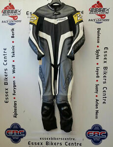 Spidi R2 Wind One Piece Race Motorcycle Leathers Suit Grey Eu 50 UK 40 Chest
