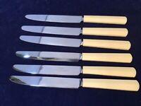 """Vintage Art Deco James Dixon & Sons Ltd Faux Bone 9.25"""" Dinner Knives Rare!"""