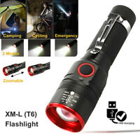 T6 LED Flashlight Zoomable USB Rechargeable Lamp Outdoor 3 Modes Torch AU