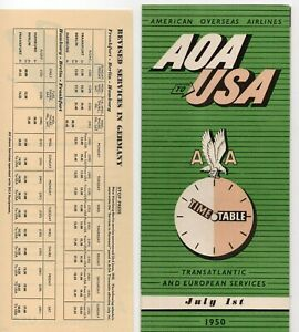 AMERICAN OVERSEAS AIRLINE TIMETABLE SCHEDULE 1950