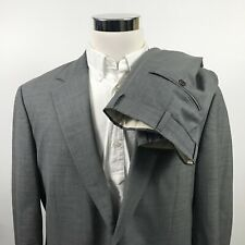 Brooks Brothers Mens 43R Suit 36 x 30 Pleated Gray Check Stretch Wool Two Button