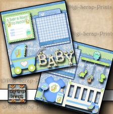 BABY BOY ~ 2 premade scrapbook pages paper piecing DINOSAUR layout BY DIGISCRAP