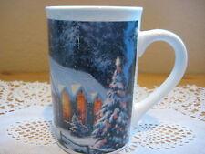 """2009 Thomas Kinkade """"Christmas Chapel 1"""" Coffee Cup Mug, 5"""" Tall X 3 1/4"""" Dia"""