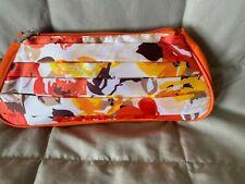 Nwot-Ulta Orange / Floral Satin Cosmetic Bag 10 x 4.5 x 2
