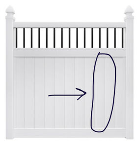 Replacement U-Channel Board for Vinyl Fence Panel