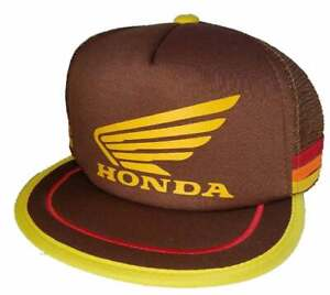 3 Striped Brown 80's Honda Motocross Trucker Hat Cap Snapback Motorcycle