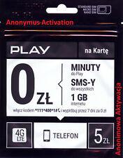 POLISH Sim Card New PLAY Prepaid PAYG Europe Standard Micro Nano / Karta Sim