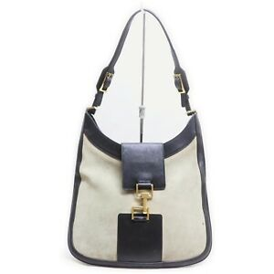 Gucci Shoulder Bag  Gray x Black Suede Leather 840319
