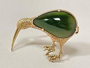 RARE ANTIQUE 9CT GOLD & NEW ZEALAND GREENSTONE POUNAMU JADE KIWI BIRD BROOCH