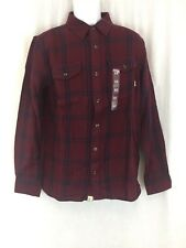 Men Vans long sleeve plaid maroon blue flannel Shirt tailored fit Size M New tag