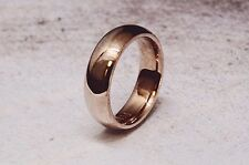 6mm Hand Crafted Smooth Finish Half Round 14k Rose Gold Men's Wedding Band