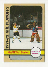 1972-73 Topps Hockey card. 1971-72 NHL Playoffs Game 5 Bruins & Rangers  #6