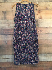 IHeartRonson Junior Women's Tank  Dress Jr Size M Navy Floral Crinkle Cotton