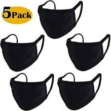 5x Adult Kids Black Face Mask Reusable Washable Cover Masks Cotton Cloth Comfort