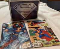 Silver Superman Metal Lunchbox DC Comics and 2 Superman comic book lot bundle.